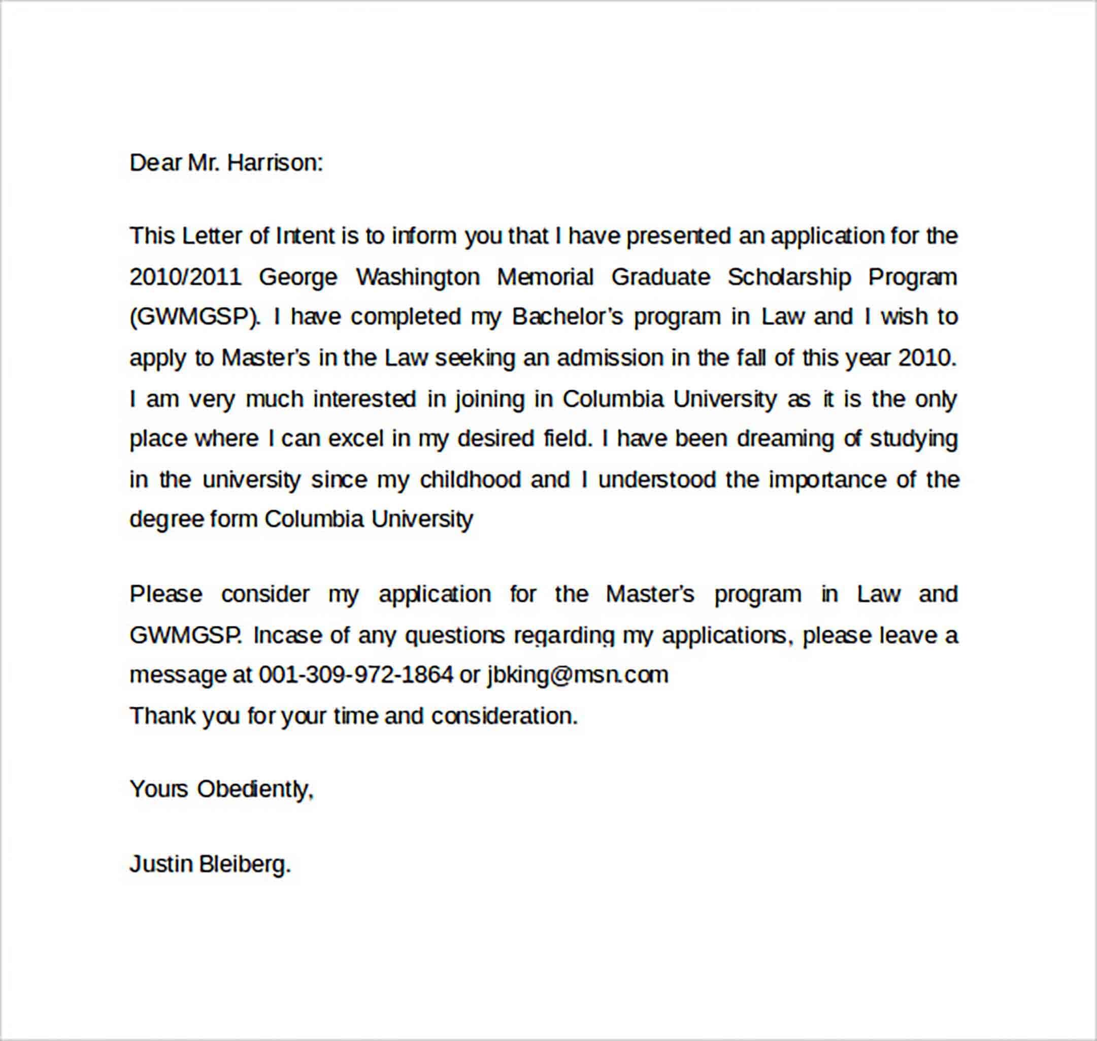 Letter of Intent templates Graduate School