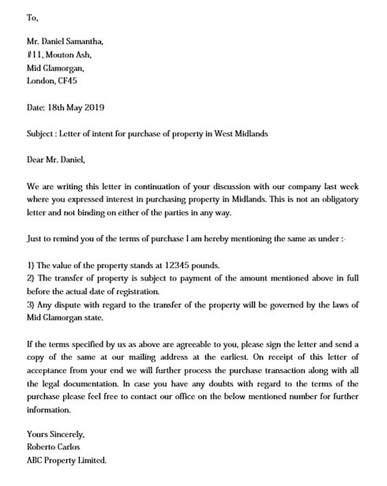 Letter of Intent templates Real Estate