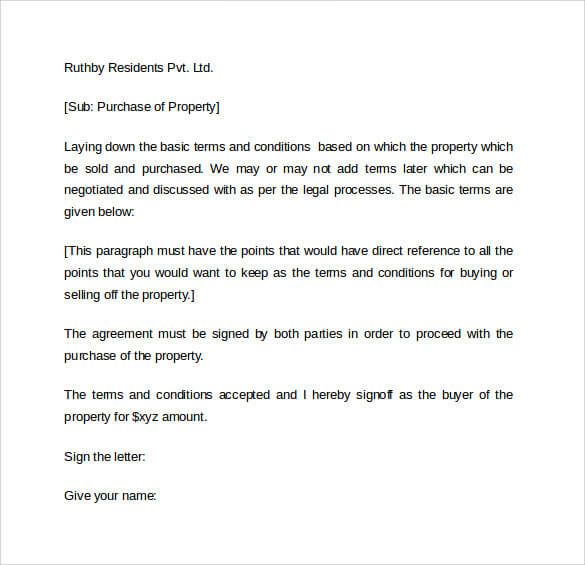 Letter of Intent to Purchase Business templates