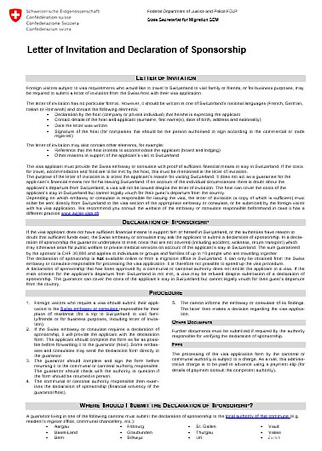 Letter of Invitation and Declaration of Visa Sponsorship