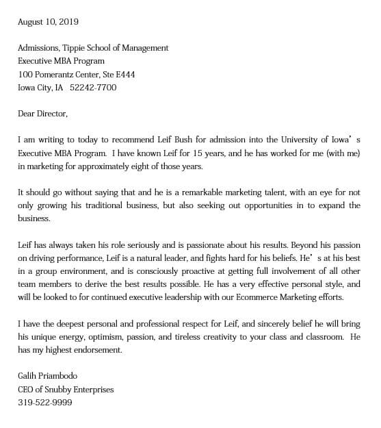 Letter of Recommendation Sample