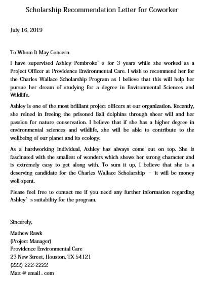 Letter of Recommendation for Coworker Scholarship