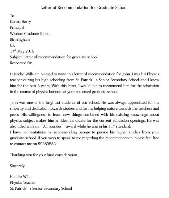 Letter of Recommendation for Graduate School in Word for