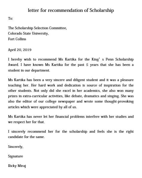 Letter of Recommendation for Scholarship for Award