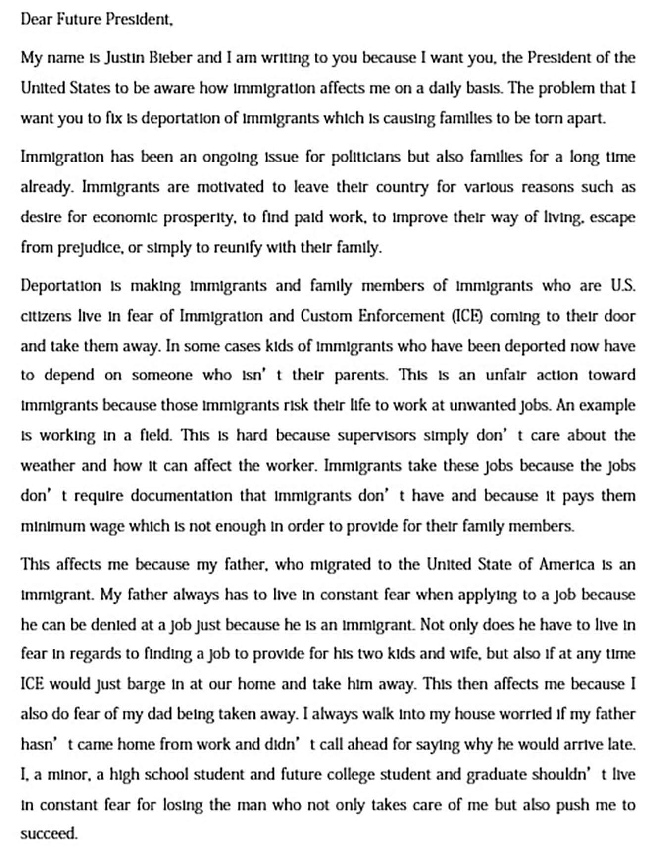 Letter of Support to Stop Deportation