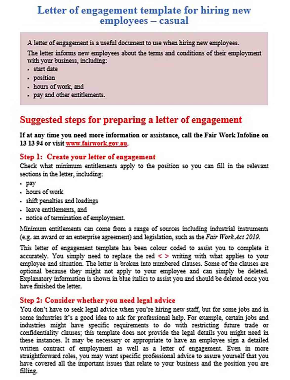 Letter of engagement casual employee