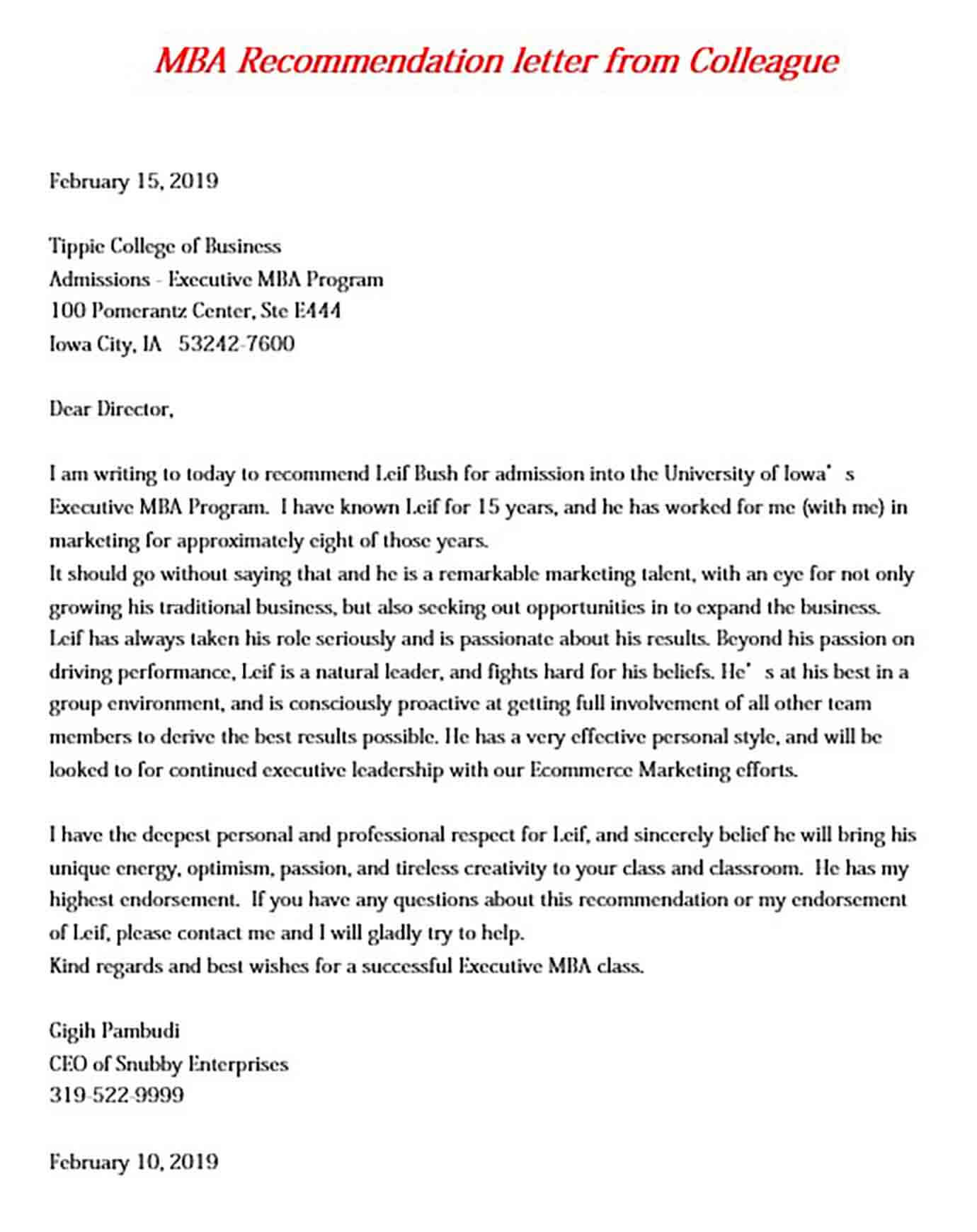 MBA Recommendation letter from Colleague