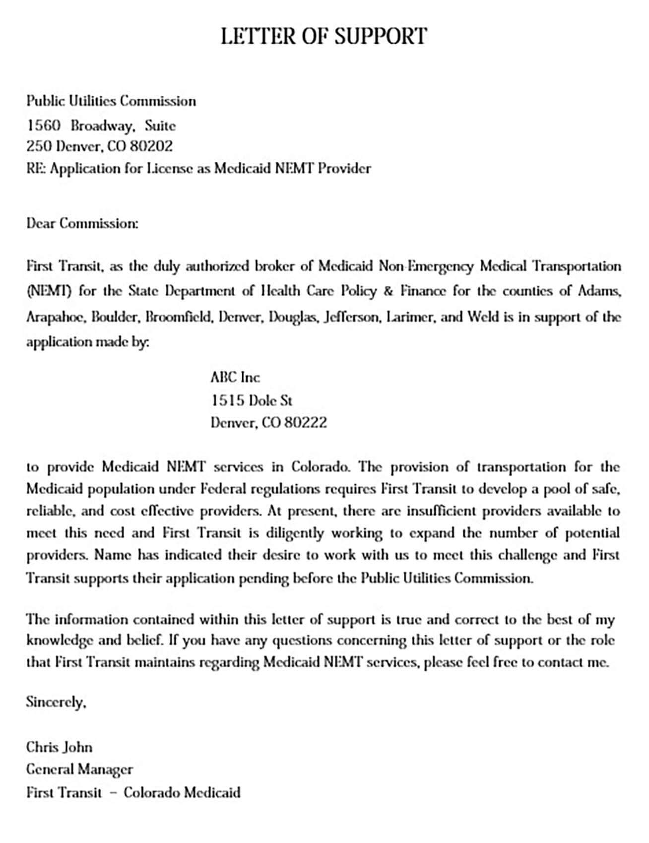 Medicaid Support Letter for Applicant