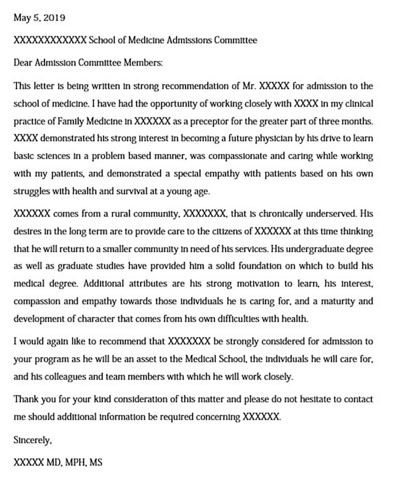 Medical School Admission Recommendation Letter