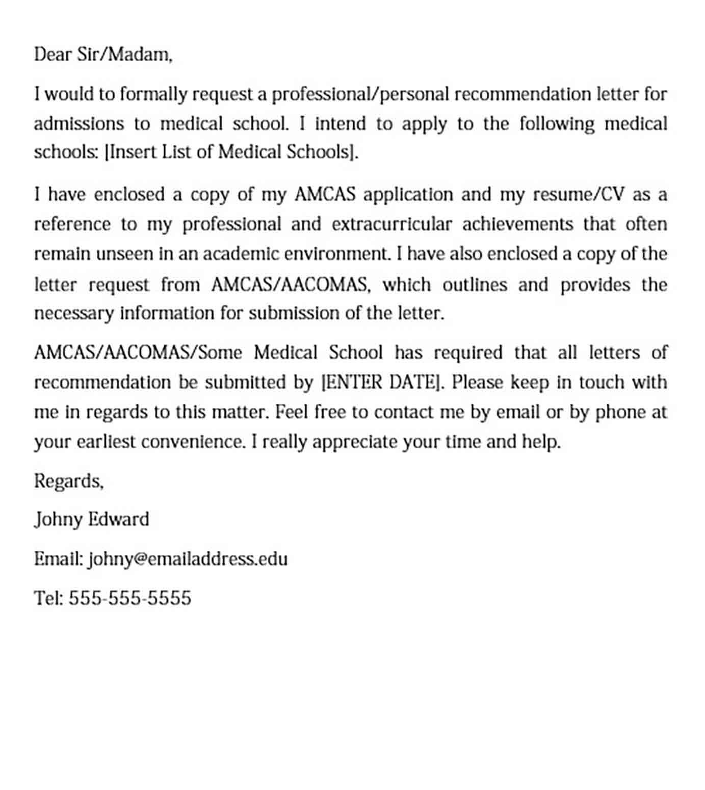 Medical School Recommendation Request Letter