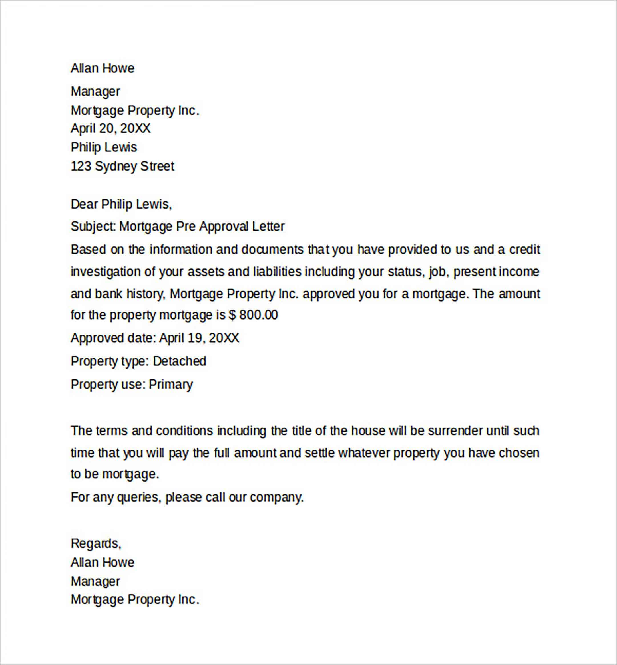 Mortgage Pre Approval Letter