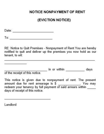 Non Payment Of Rent Eviction Notice