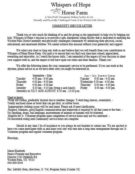 Non Profit Community Service Letter