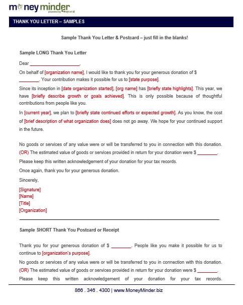 Non Profit Donation Thank You Letter