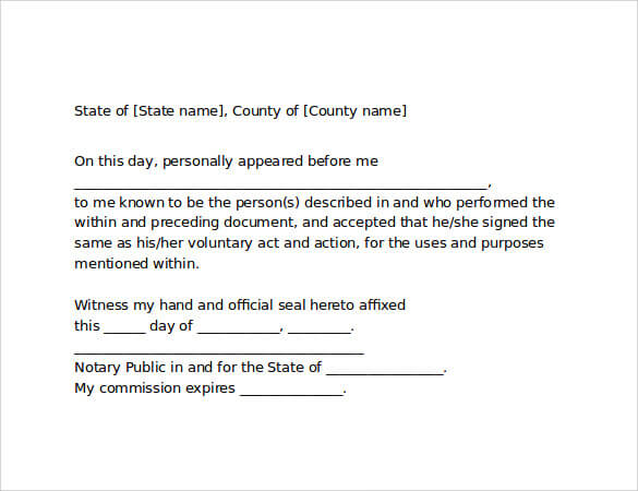 Notarized Letter Format