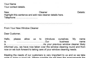 Notice of Change of Window Cleaner Letter