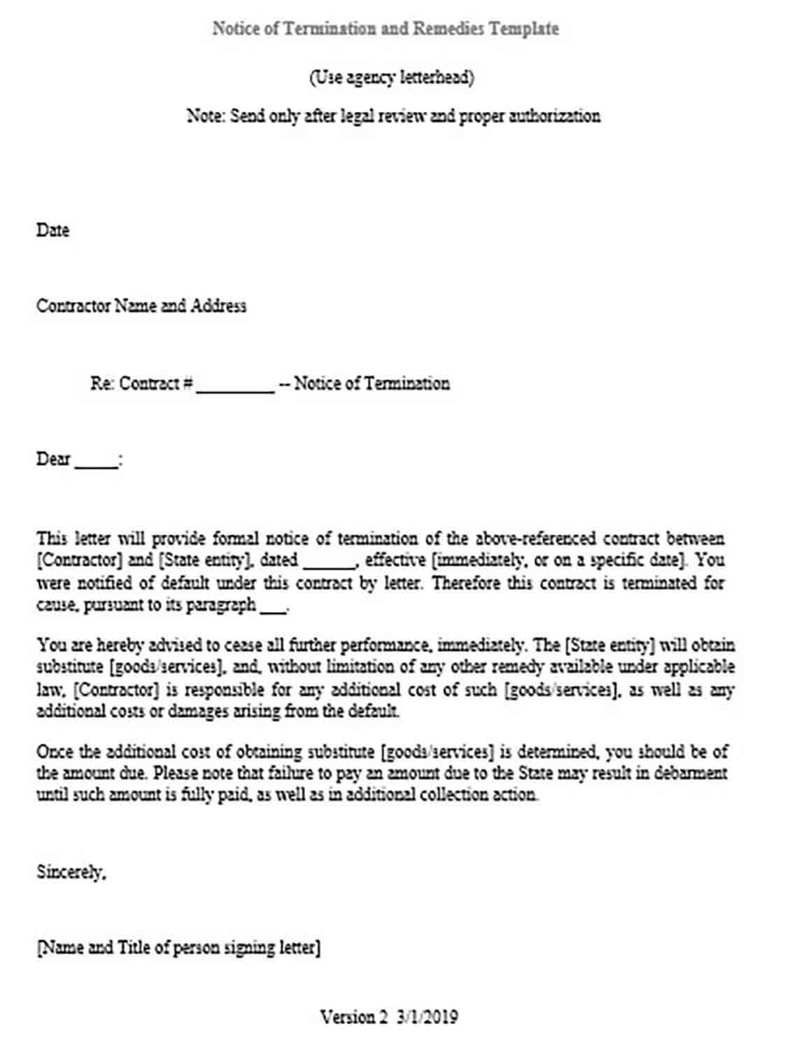 Notice of Termination and Remedies Form