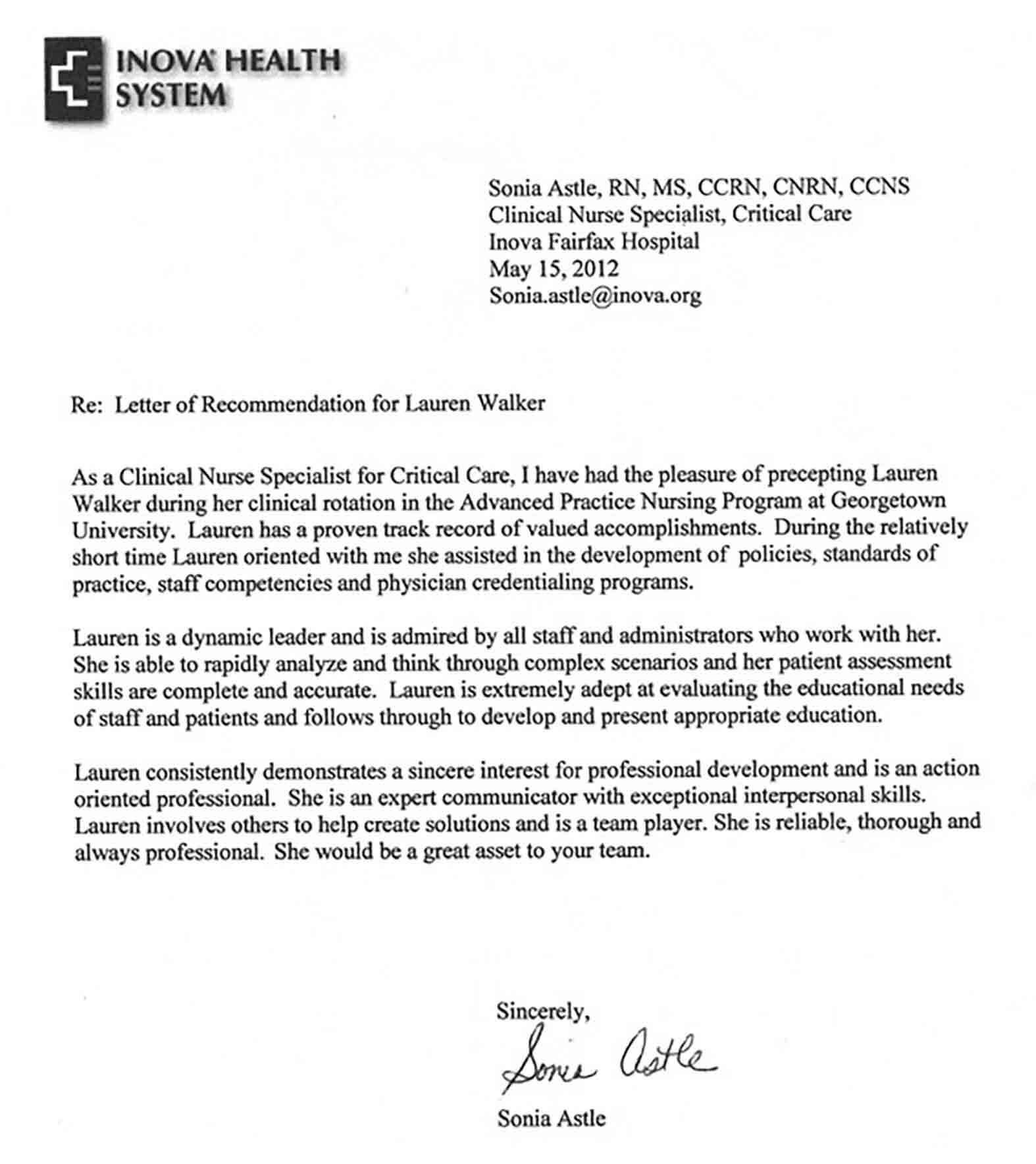 Nursing Recommendation Letter