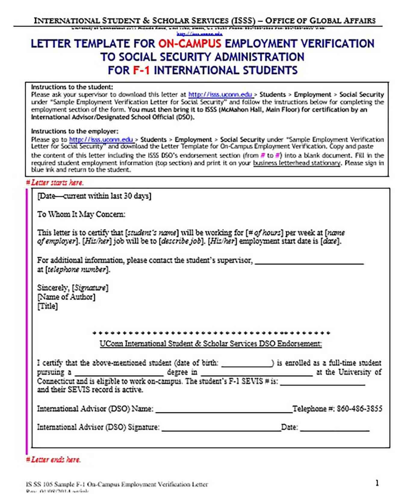 On Campus Employment Verification Letter