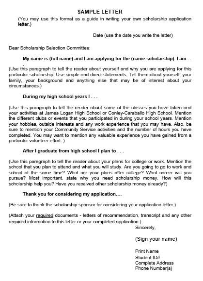 Own Scholarship Application Letter
