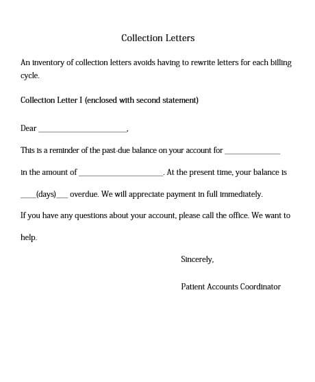 Partial Payment Collection Letter