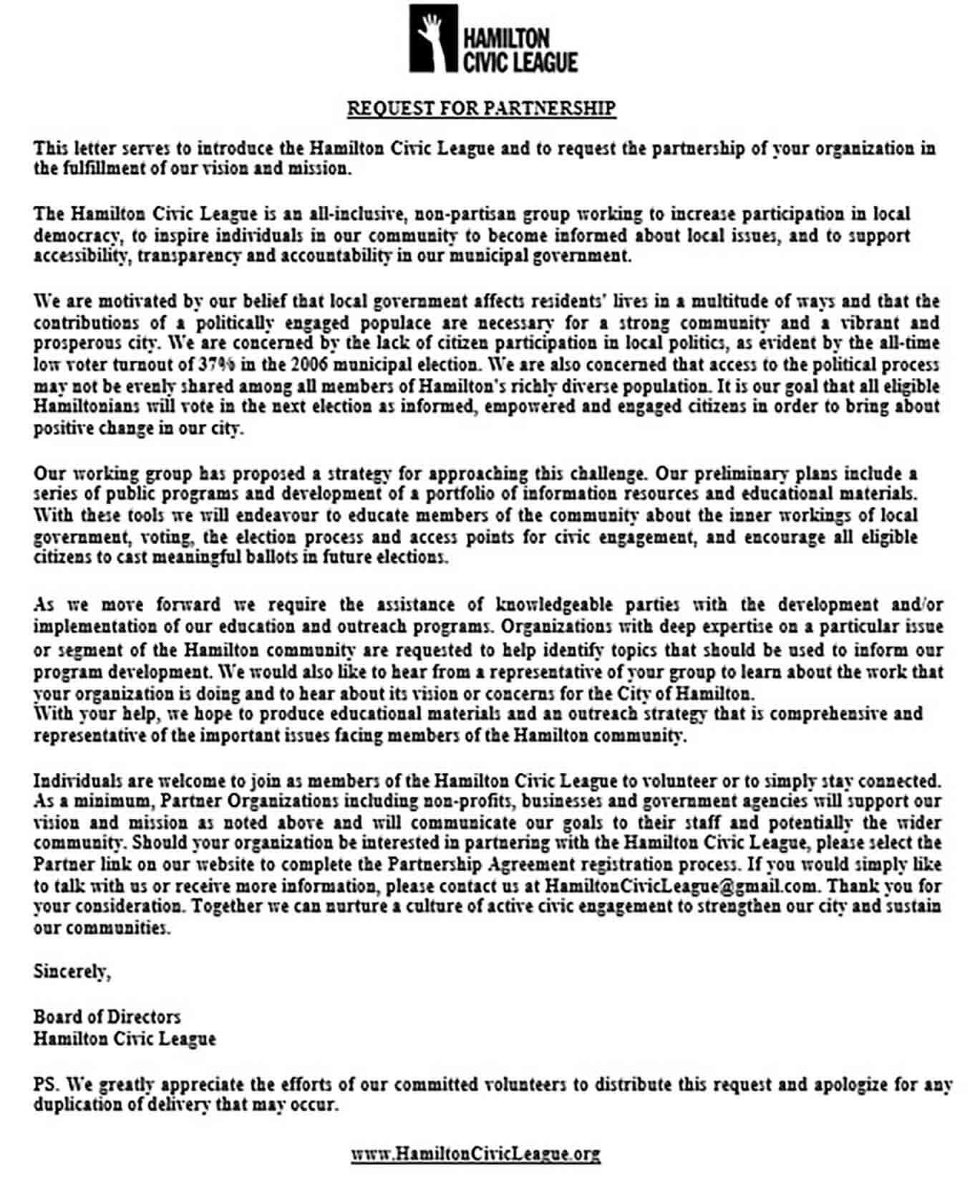 Partnership Proposal Request Letter