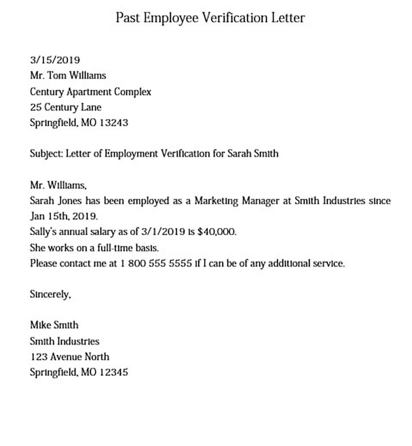 Past Employee Verification Letter Sample