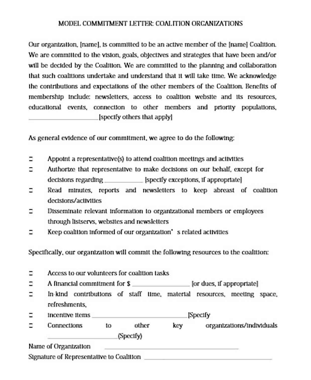 Personal Model Commitment Letter
