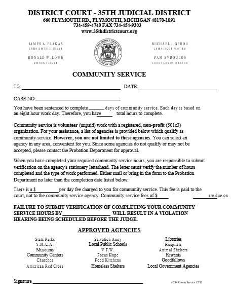 Probation Community Service