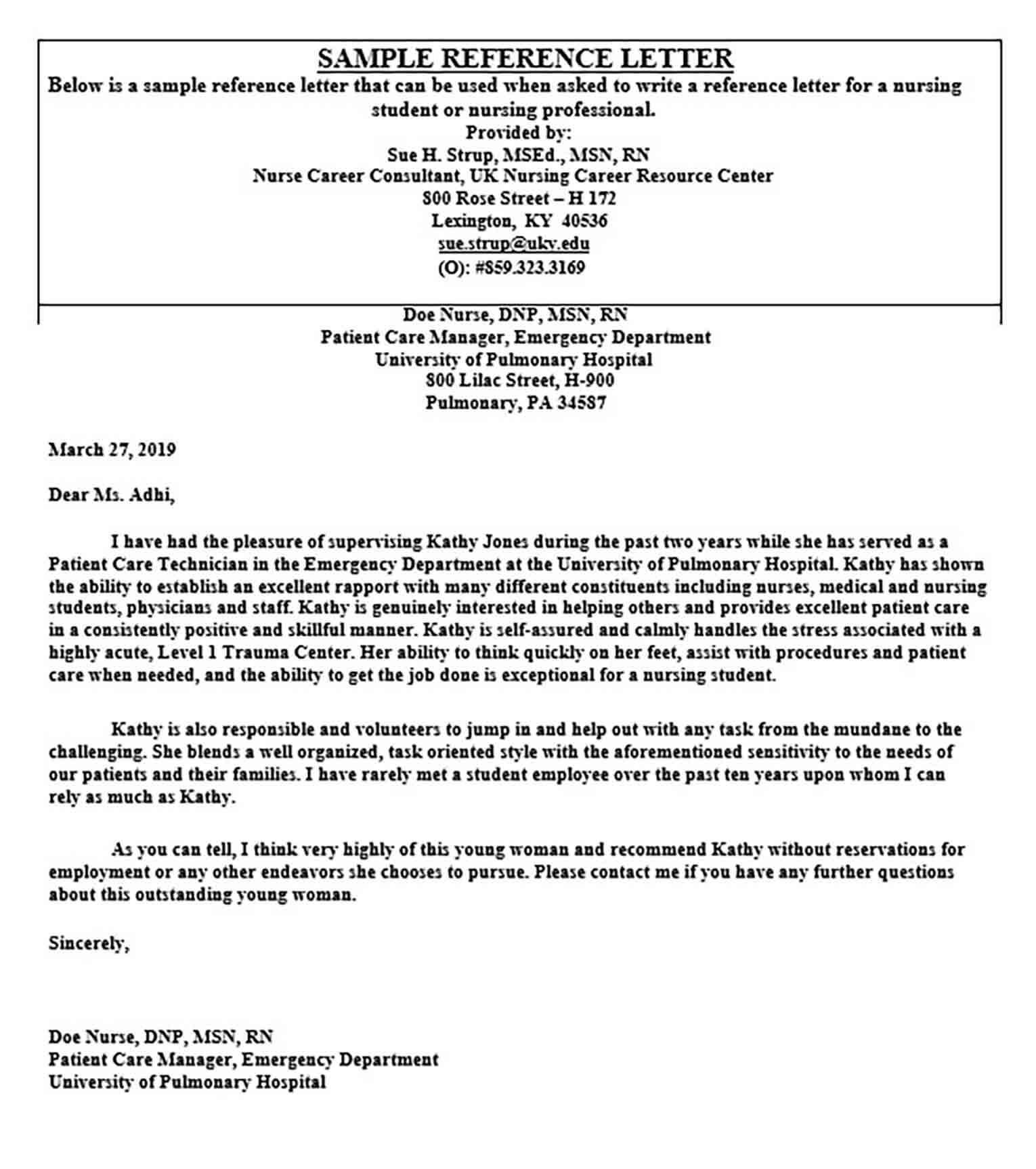 Professional Nursing Recommendation Letter