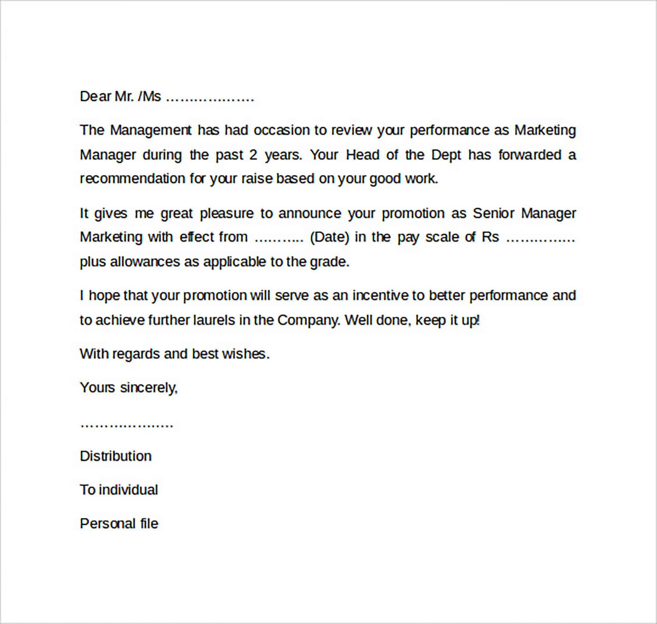 Promotion Letter Example