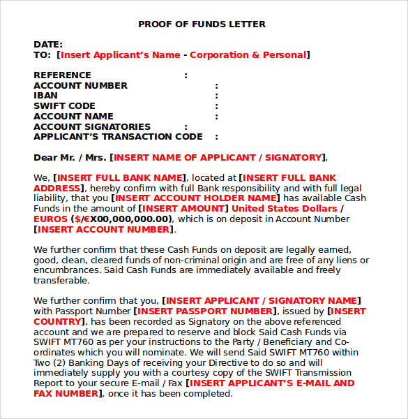 Proof of Funds Letter Generator