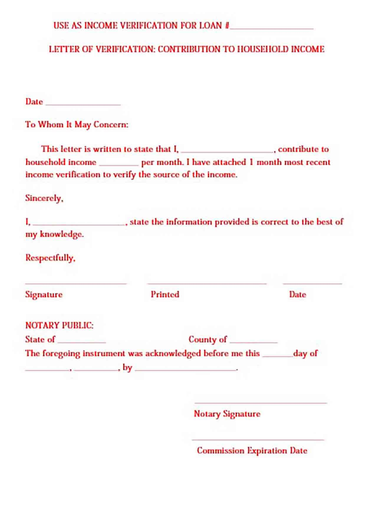 Proof of Income Letter templates Sample