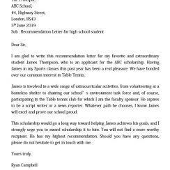 Recommendation Letter for High School Student from Sports Teacher