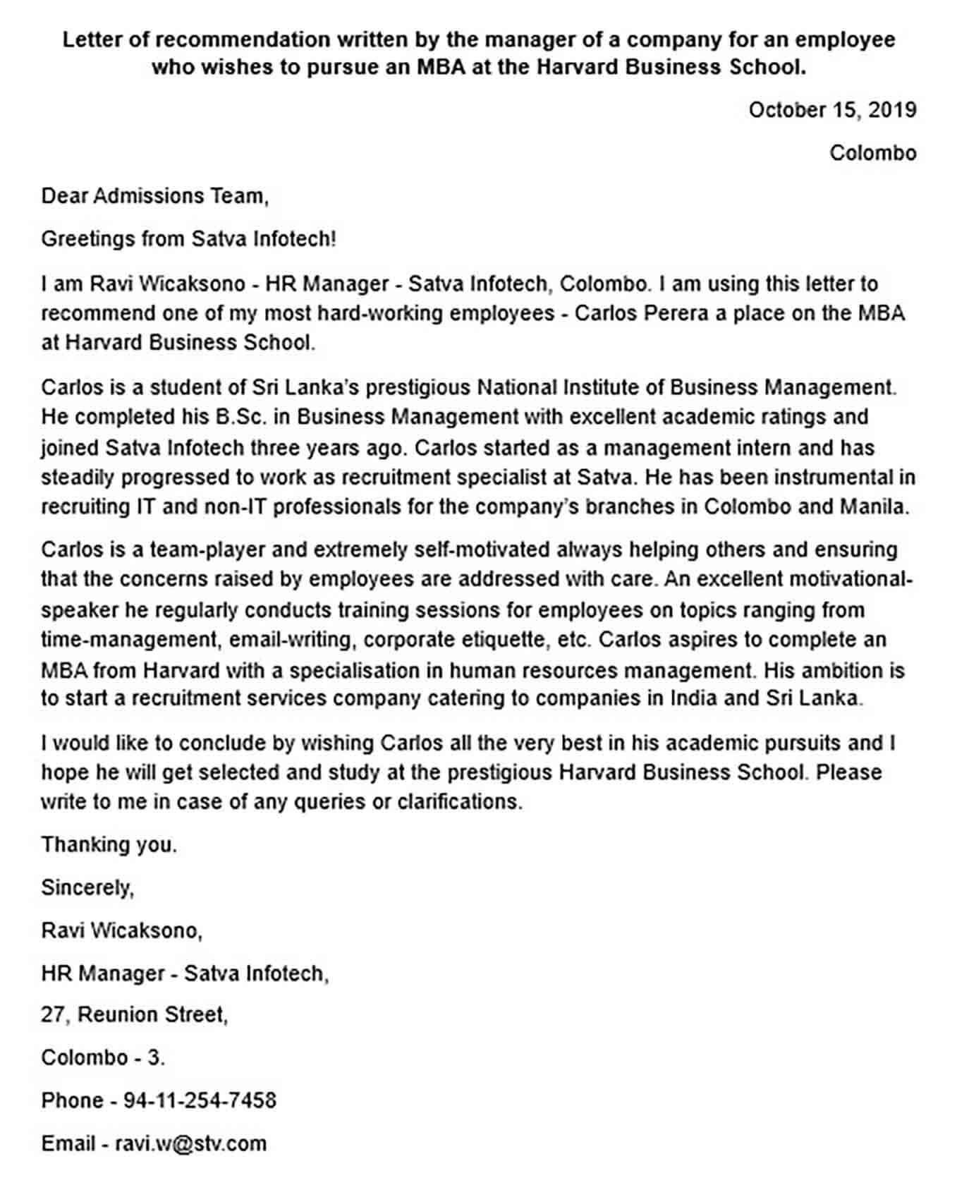 Recommendation Letter for MBA Admission