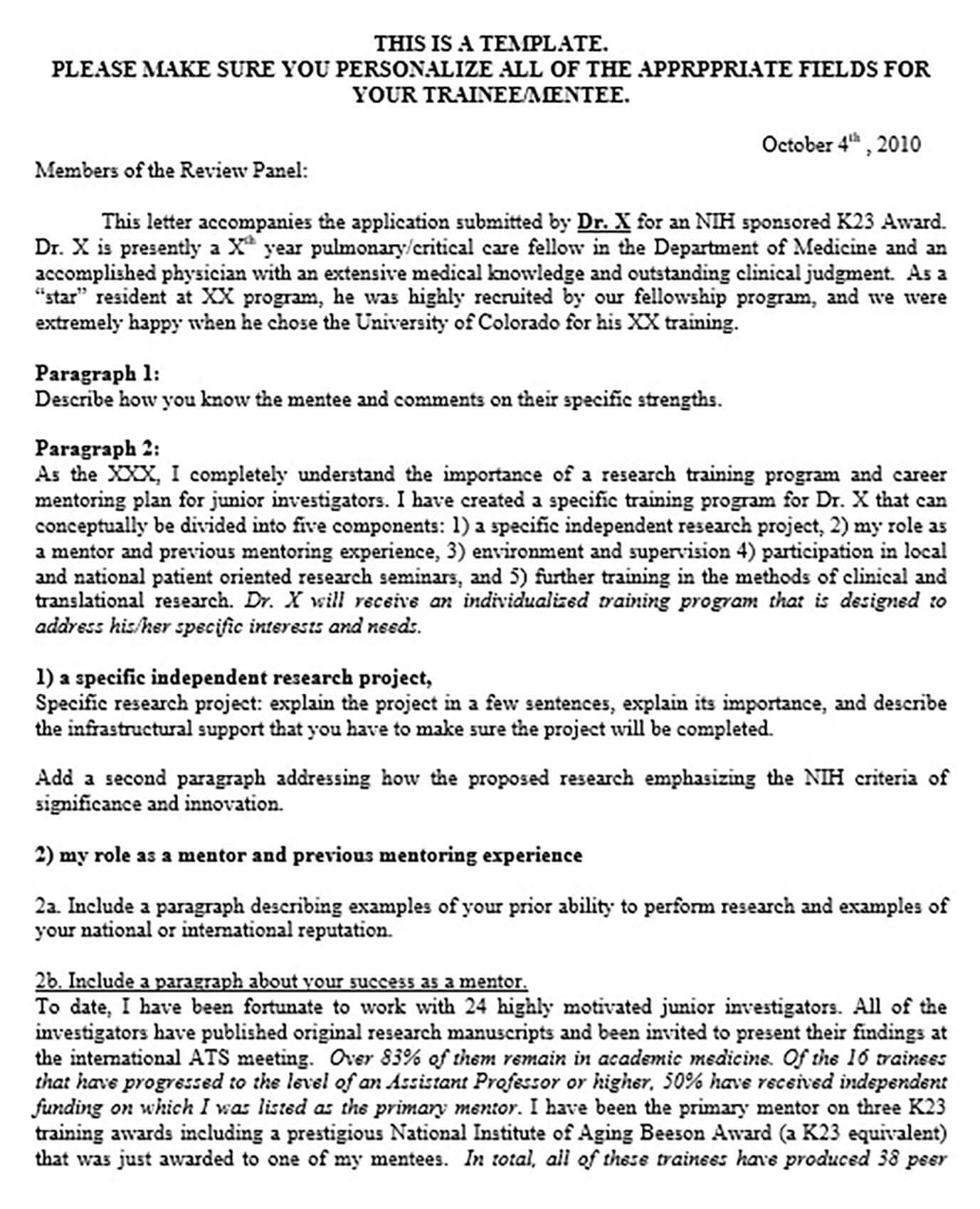 Research Mentor Support Letter