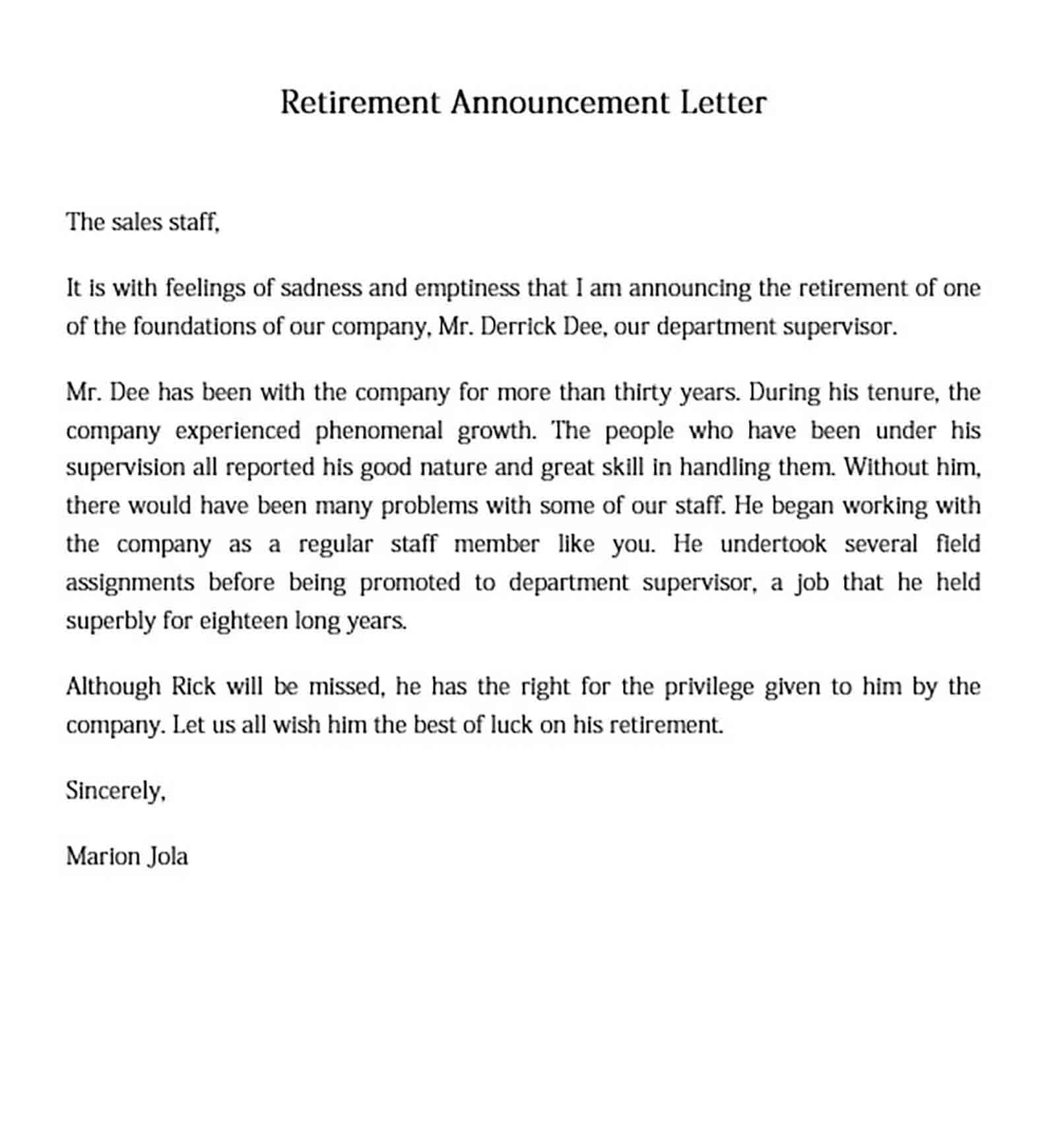 Retirement Announcement Letter