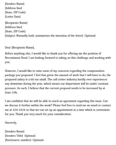 Salary Negotiation Letter After Job Offer