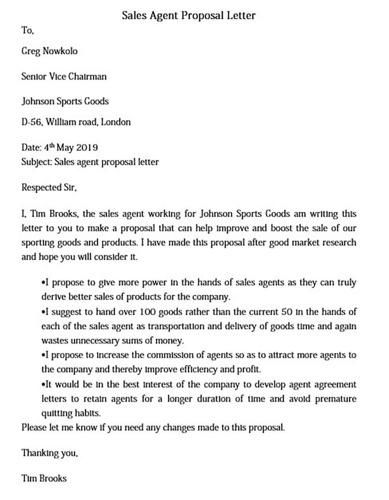 Sales Agent Proposal Letter