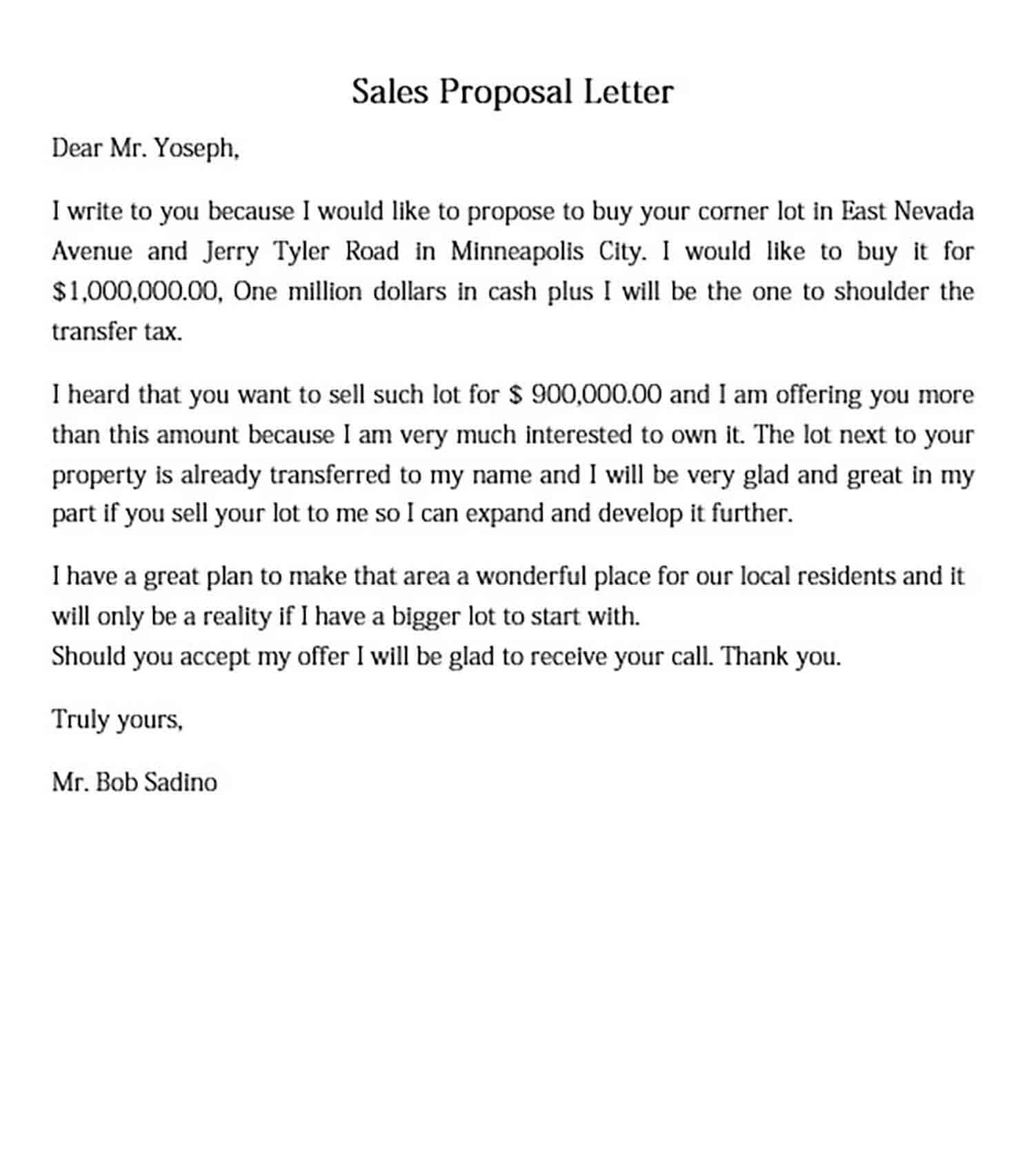 Sales Proposal Letter to