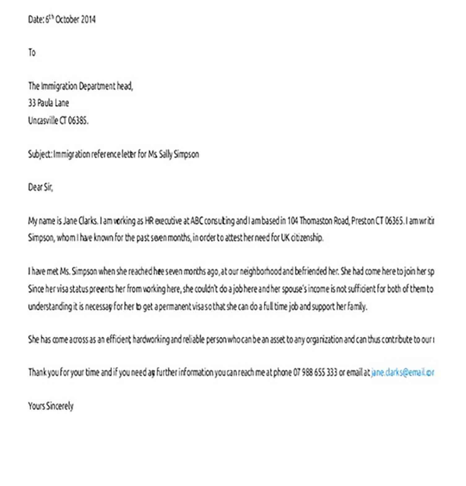 Sample Character Reference Letter for Immigration