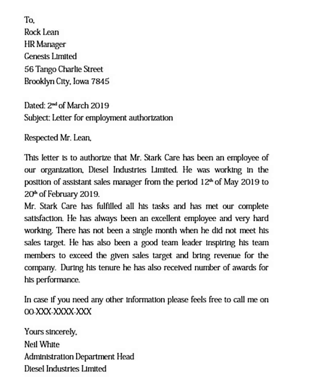 Sample Employment Authorization Letter