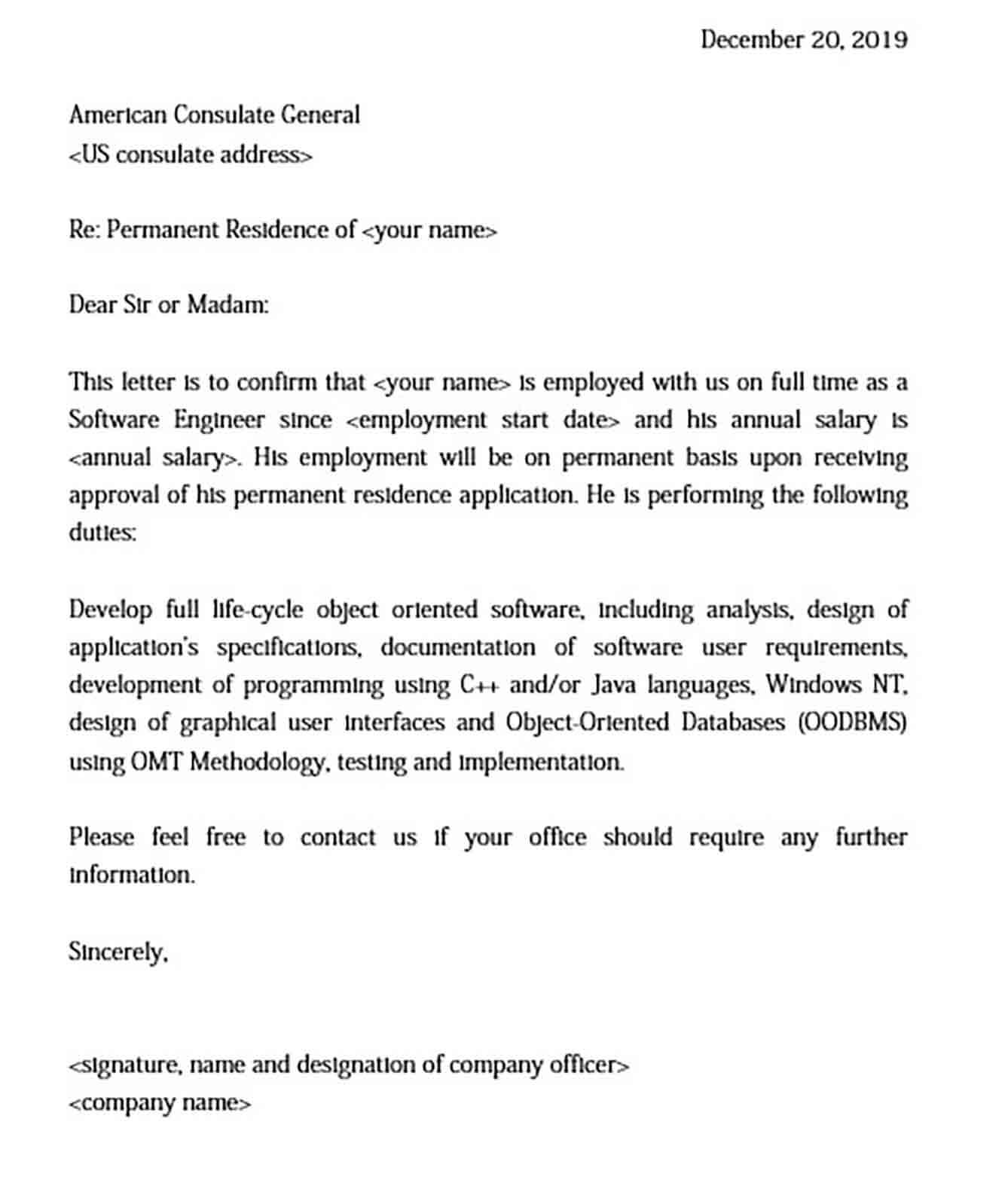 Sample Employment Letter for Immigrant Visa