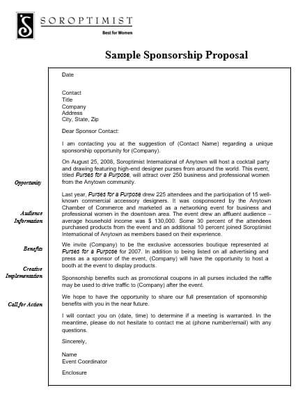 Sample Event Sponsorship Proposal Letter