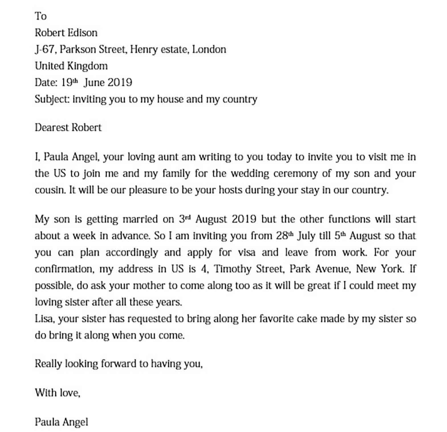 Sample Invitation Letter for US Visa