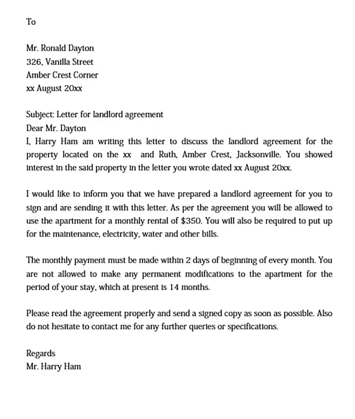 Sample Landlord Agreement Letter