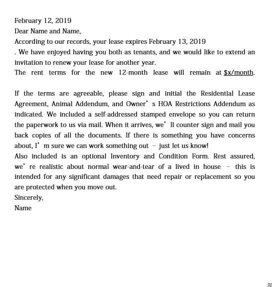 Sample Lease Renewal Letter