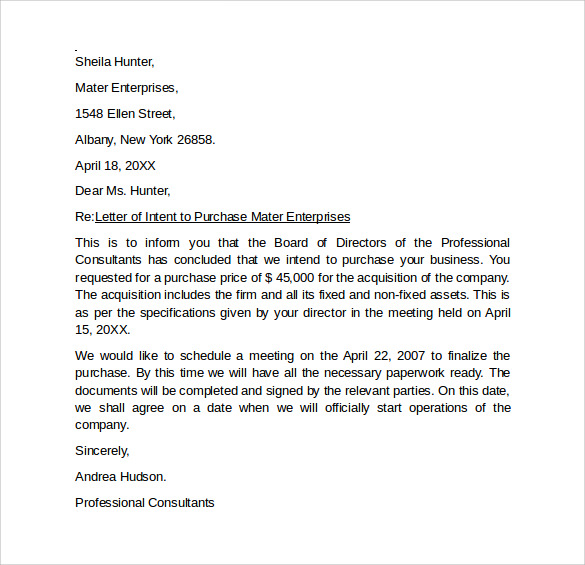 Sample Letter Of Intent to Purchase Business