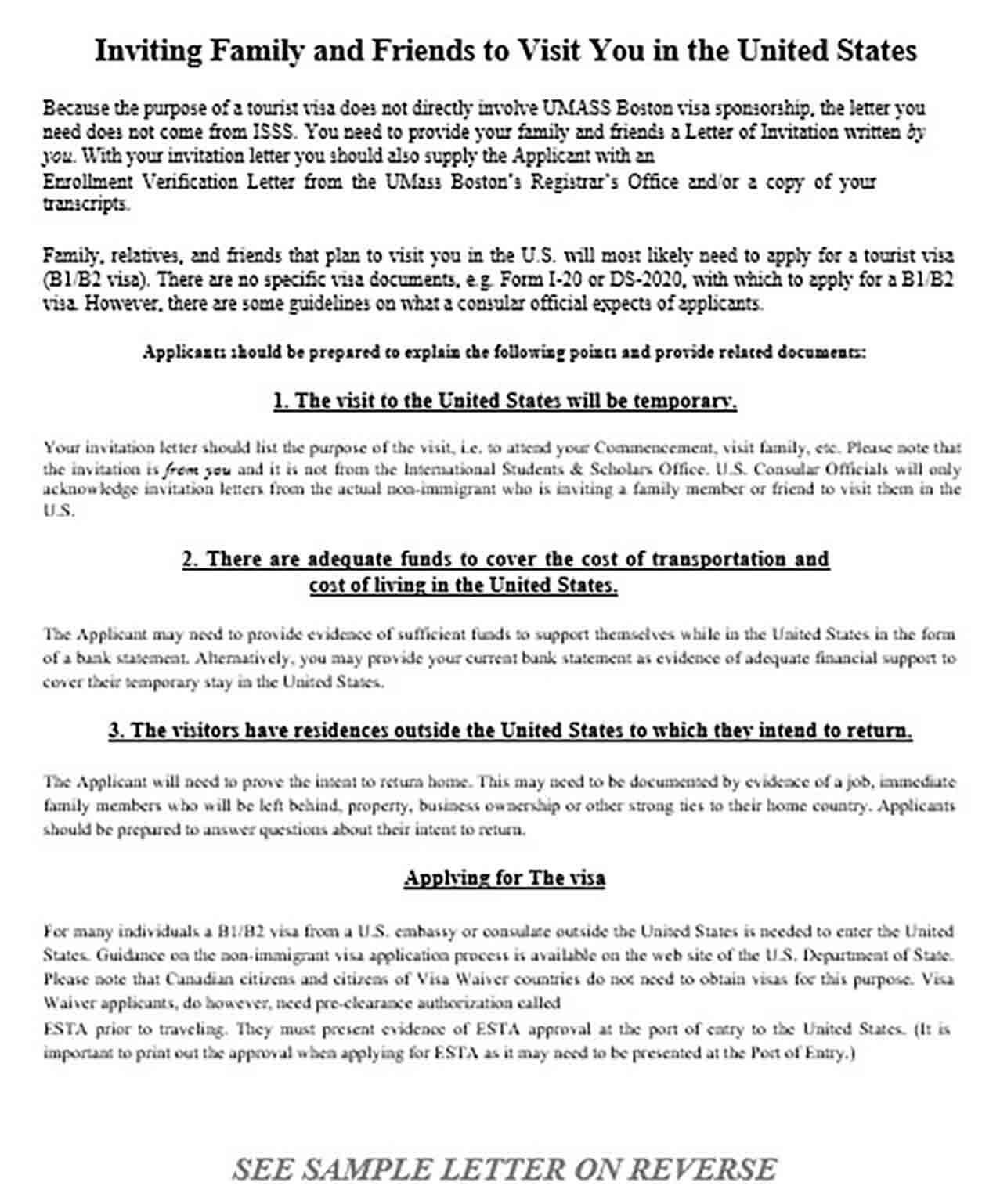 Sample Letter for Inviting Relatives for US Visa