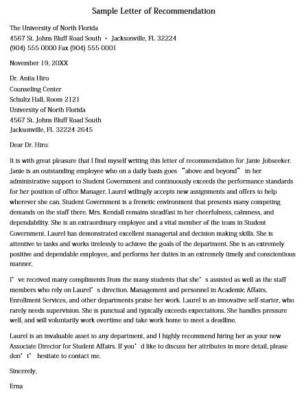 Sample Letter of Recommendation for Graduate School Doc